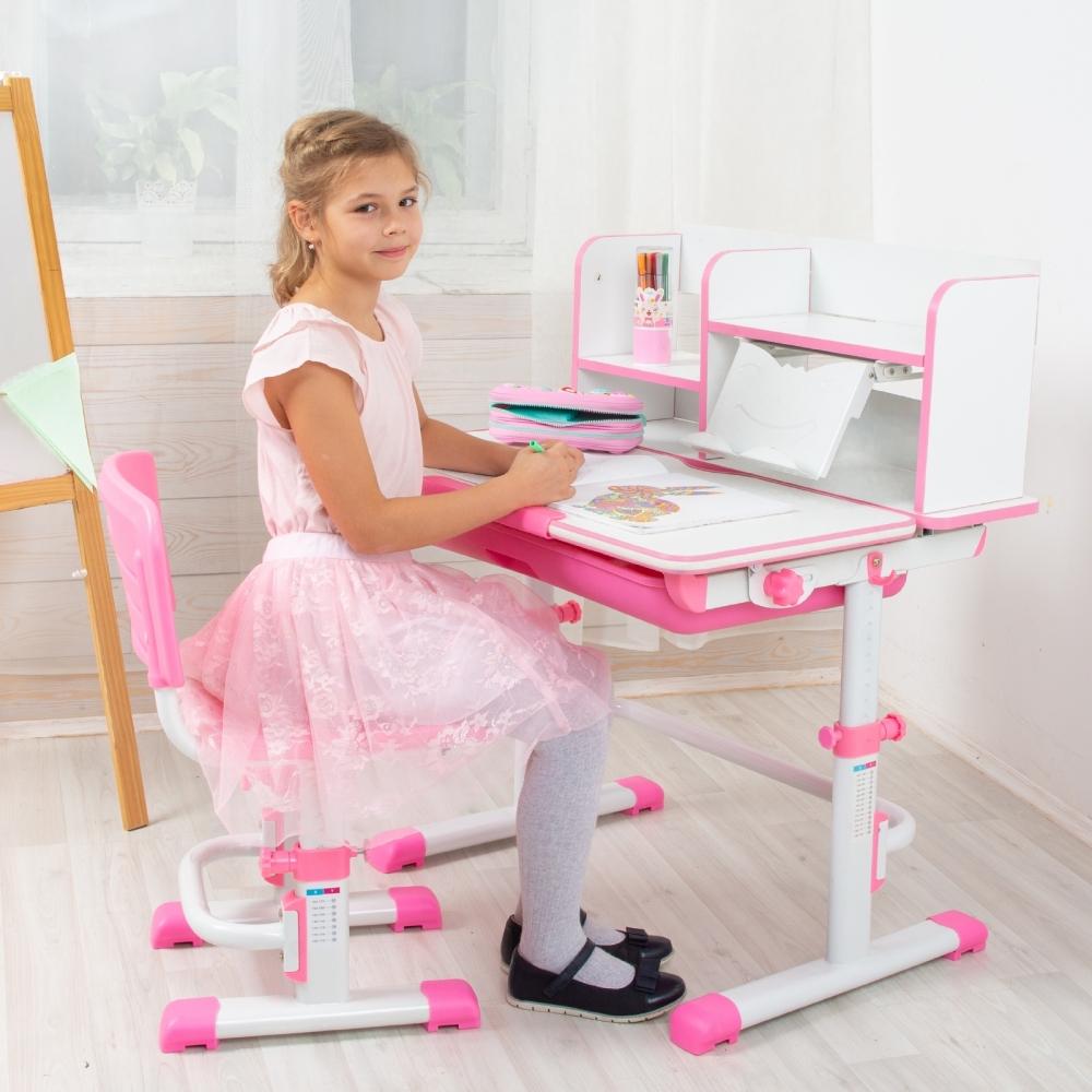 Комплект парта и стул розовый Lott S80