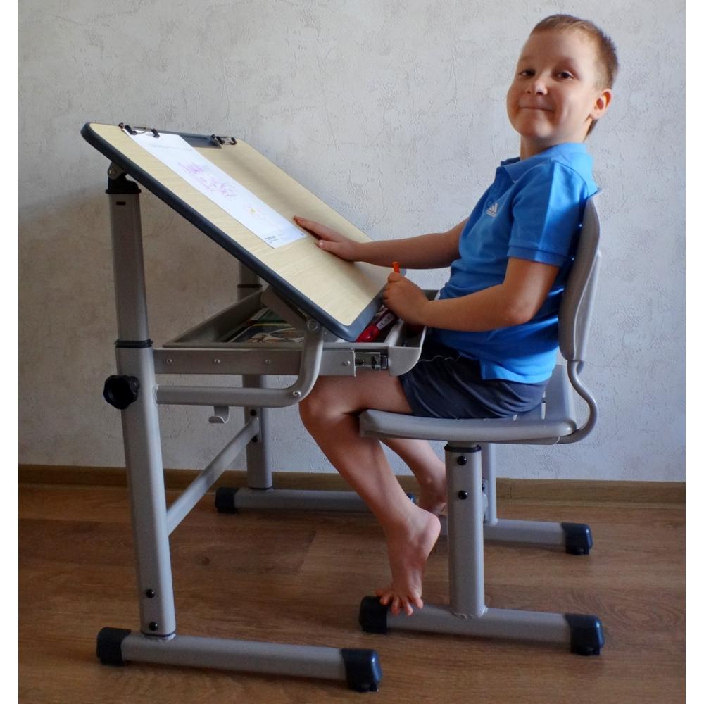 Комплект парта и стул светло серый Престиж Классик Люкс