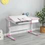 Комплект парта розовая Brunia Cubby и кресло серое Solerte Fundesk