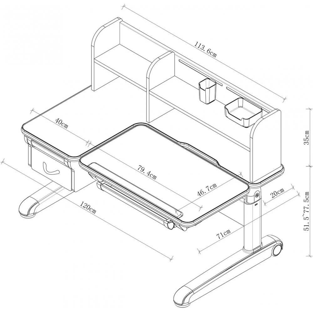 Комплект парта и кресло серый Libro и Primo Fundesk