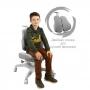 Детское кресло серое Holto-3D