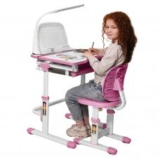 Ортопедическая парта для школьника Set-12 Holto розовый