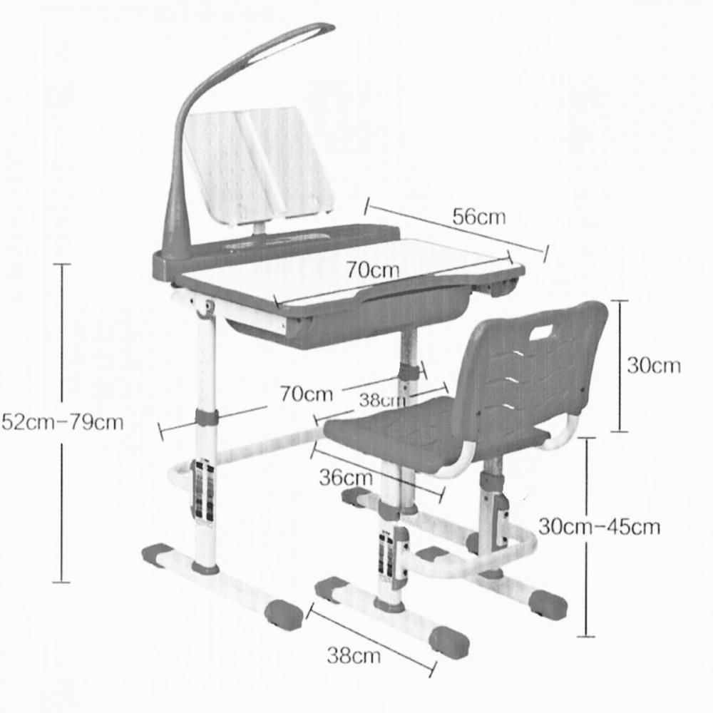 Комплект парта и стул светло серые LOTT MM70L