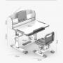 Комплект парта и стул с секретером LOTT MS80L-S серый