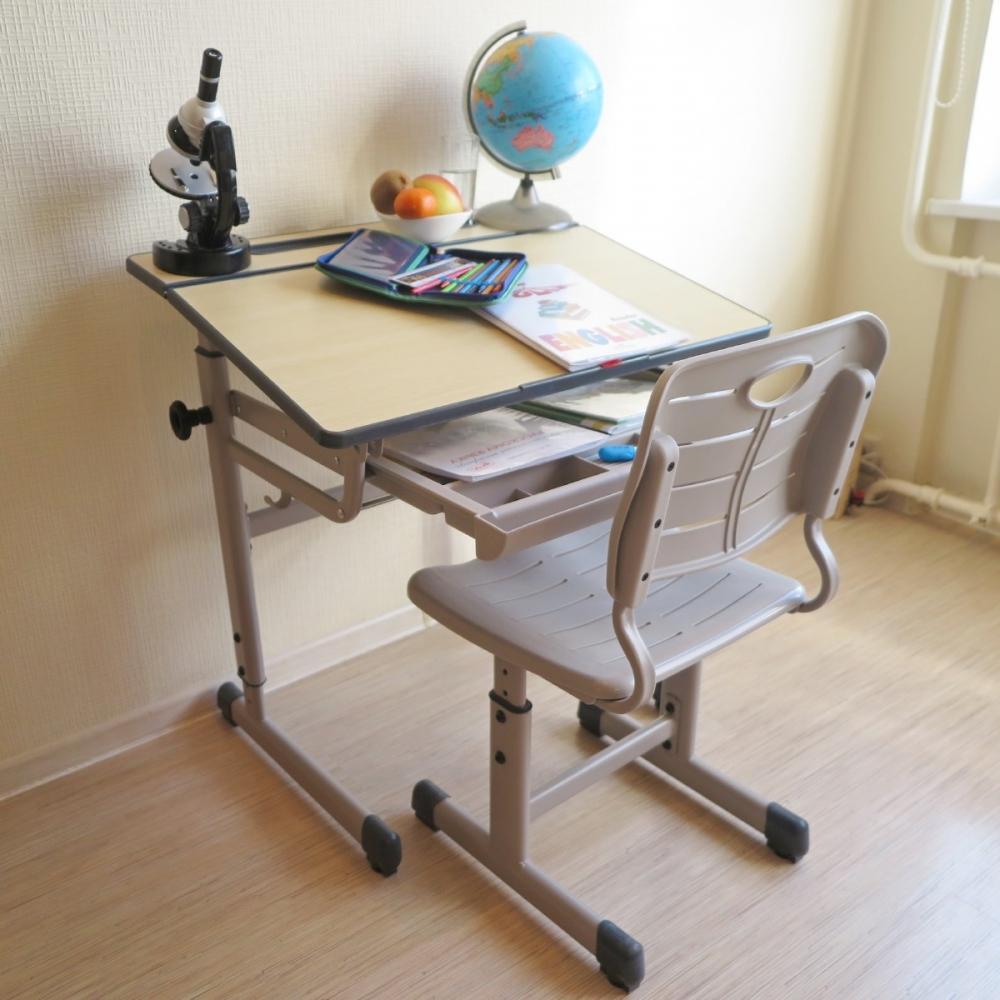 Комплект парта и стул светло серый Комфорт Классик Люкс