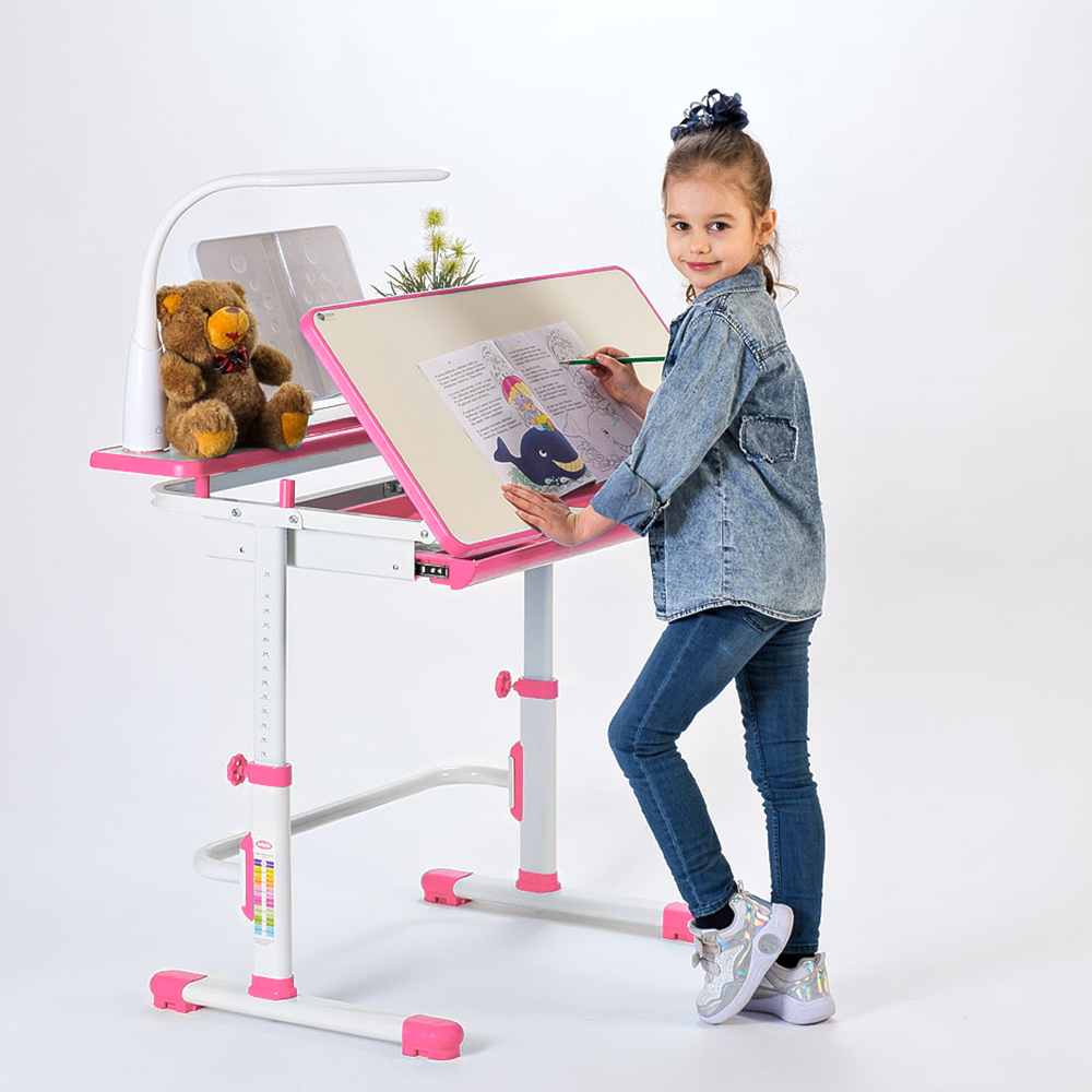 Комплект парта и стул розовый Rifforma Comfort-07