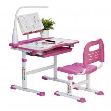 Парта школьная регулируемая Rifforma Set-17 клен и розовый
